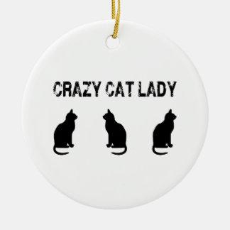 Gatos locos de señora With tres del gato Adorno Navideño Redondo De Cerámica