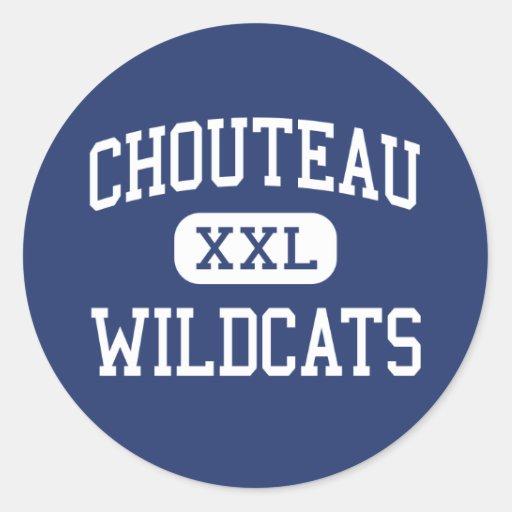 Gatos monteses Chouteau medio Oklahoma de Chouteau Pegatina Redonda