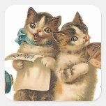 Gatos musicales pegatina cuadrada