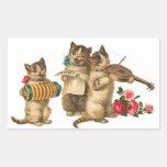 Gatos musicales pegatina rectangular