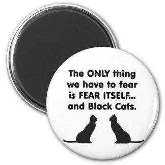 Gatos negros 2 del miedo sí mismo imán redondo 5 cm