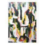 Gatos negros abstractos y perros blancos tarjeta postal