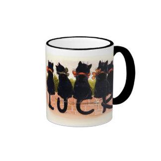 Gatos negros afortunados taza a dos colores