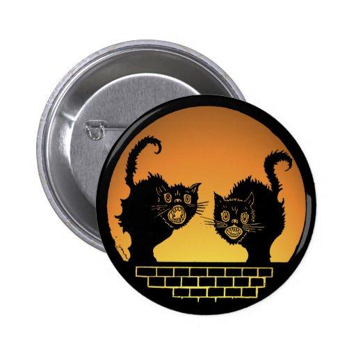 Gatos negros asustadizos de Halloween Pin