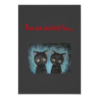 Gatos negros asustadizos de la invitación del
