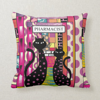 Gatos negros caprichosos de la almohada del farmac