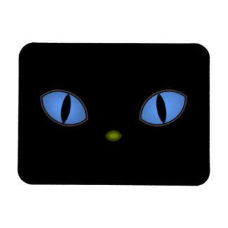 Gatos negros con los ojos azules grandes imán rectangular