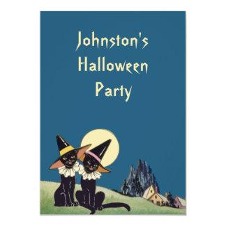 """Gatos negros de Halloween del vintage Invitación 5"""" X 7"""""""