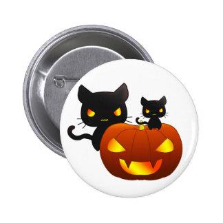 Gatos negros de Kawaii y calabaza de Halloween Pin Redondo 5 Cm