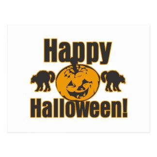 Gatos negros de la calabaza del feliz Halloween Postales