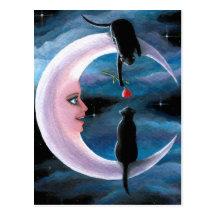Gatos negros del gato 581 en la luna tarjeta postal