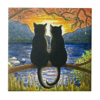Gatos negros del gato 582 azulejo cuadrado pequeño