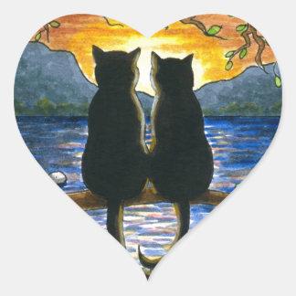 Gatos negros del gato 582 pegatina en forma de corazón