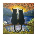 Gatos negros del gato 582 tejas