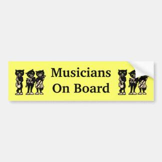 Gatos negros del vintage de los músicos a bordo pegatina para auto