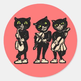 Gatos negros del vintage del músico pegatina redonda