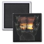 Gatos negros e imanes de la puesta del sol imán de frigorifico