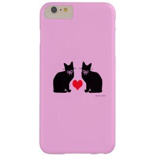 """""""Gatos negros en"""" el caso más del iPhone 6 rosados Funda De iPhone 6 Plus Barely There"""
