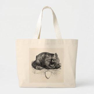Gatos negros enojados de la etiqueta del gato del bolsa tela grande