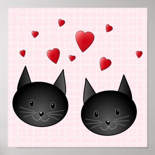 Gatos negros lindos con los corazones, en pálido - poster