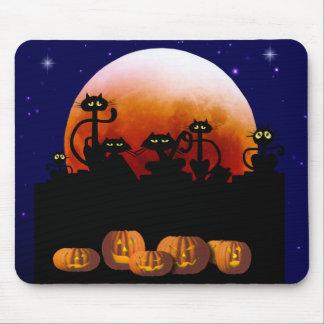 Gatos negros luna calabazas Mousepad Alfombrilla De Ratones