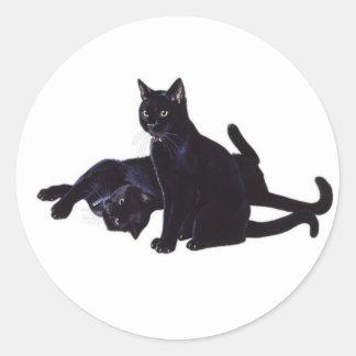 gatos negros pegatina redonda