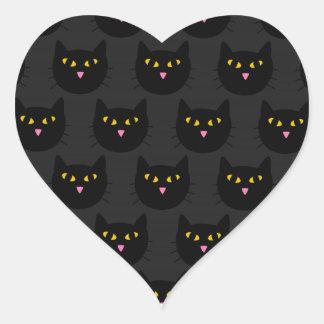 Gatos negros pegatina en forma de corazón