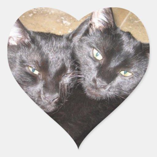 Gatos negros pegatinas corazon
