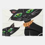 Gatos negros toalla de cocina