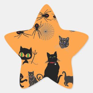 Gatos negros y arañas de la viuda calcomanía forma de estrella personalizada