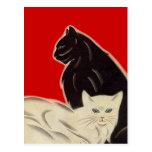 Gatos negros y blancos de la postal en estilo rojo