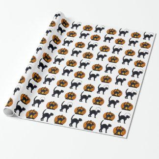 Gatos negros y calabazas de Halloween Papel De Regalo