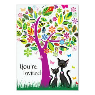 """Gatos negros y fiesta de bienvenida al bebé lindos invitación 4.5"""" x 6.25"""""""