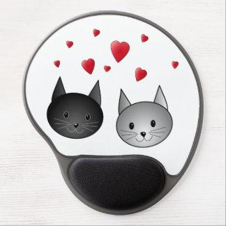 Gatos negros y grises lindos, con los corazones alfombrilla de ratón con gel