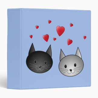 """Gatos negros y grises lindos, con los corazones carpeta 1 1/2"""""""