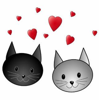 Gatos negros y grises lindos, con los corazones fotoescultura vertical