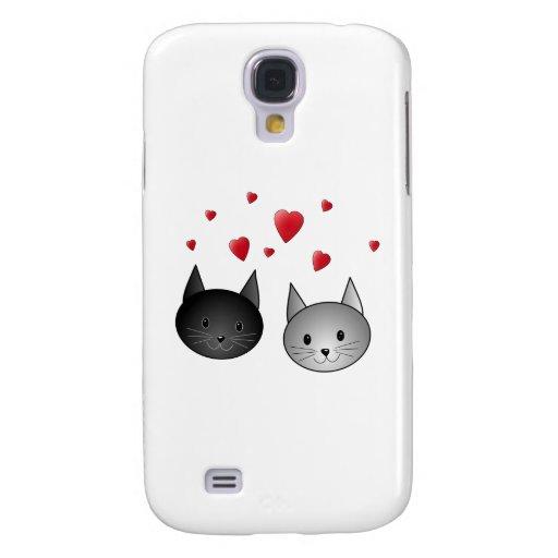 Gatos negros y grises lindos, con los corazones funda para galaxy s4