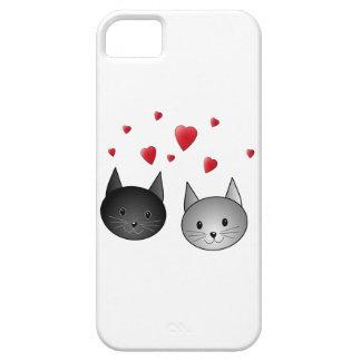 Gatos negros y grises lindos, con los corazones funda para iPhone 5 barely there