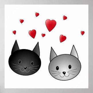 Gatos negros y grises lindos con los corazones impresiones