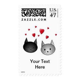 Gatos negros y grises lindos, con los corazones sello postal