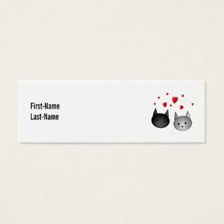 Gatos negros y grises lindos, con los corazones tarjetas de visita mini
