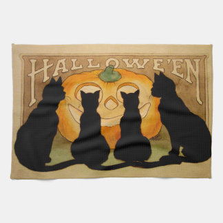 Gatos negros y Jack O Lantern Toallas De Cocina