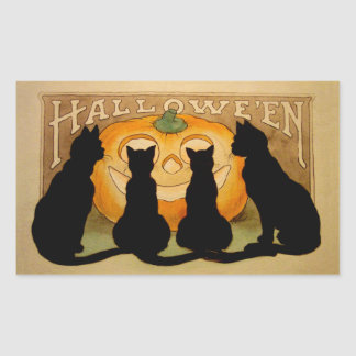 Gatos negros y Jack O'Lantern Pegatina Rectangular