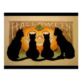 Gatos negros y Jack O'Lantern Postales