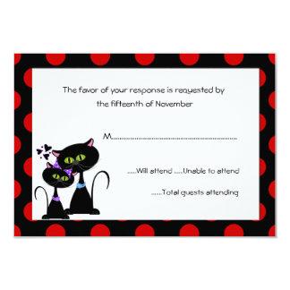 """Gatos negros y lunares que casan la tarjeta de la invitación 3.5"""" x 5"""""""