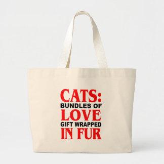 Gatos: Paquetes de regalo del amor envueltos en pi Bolsa Tela Grande