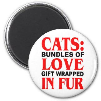 Gatos Paquetes de regalo del amor envueltos en pi Imán De Frigorifico