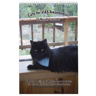 ¡Gatos para la conciencia del VASO! (Vertical) Calendario