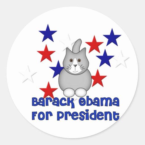 Gatos para Obama Etiquetas Redondas
