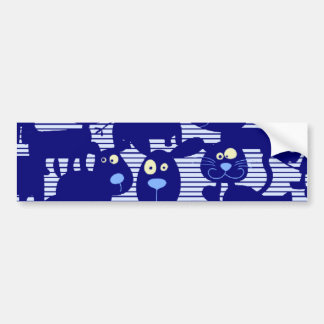 Gatos - perros y ratones en azul pegatina de parachoque